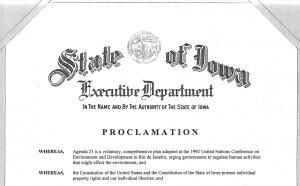 2012 Iowa Governor Branstad Proclamation Against Agenda 21