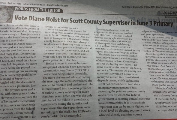 Holst Endorsed by River Cities Reader