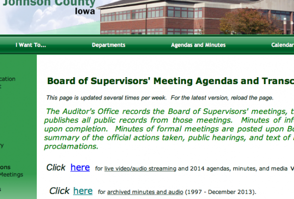 Audio streaming of County public meetings