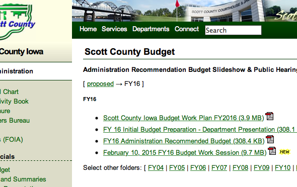 February 12, 2016, 5pm, FY16 Scott County Budget Public Hearing